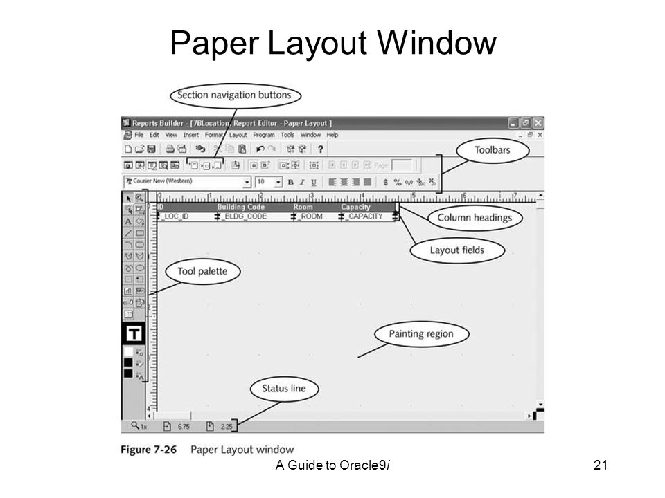 A Guide to Oracle9i21 Paper Layout Window