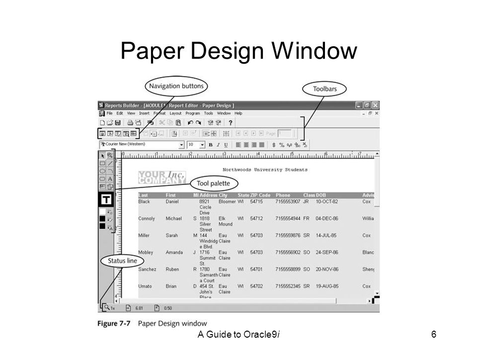 A Guide to Oracle9i6 Paper Design Window
