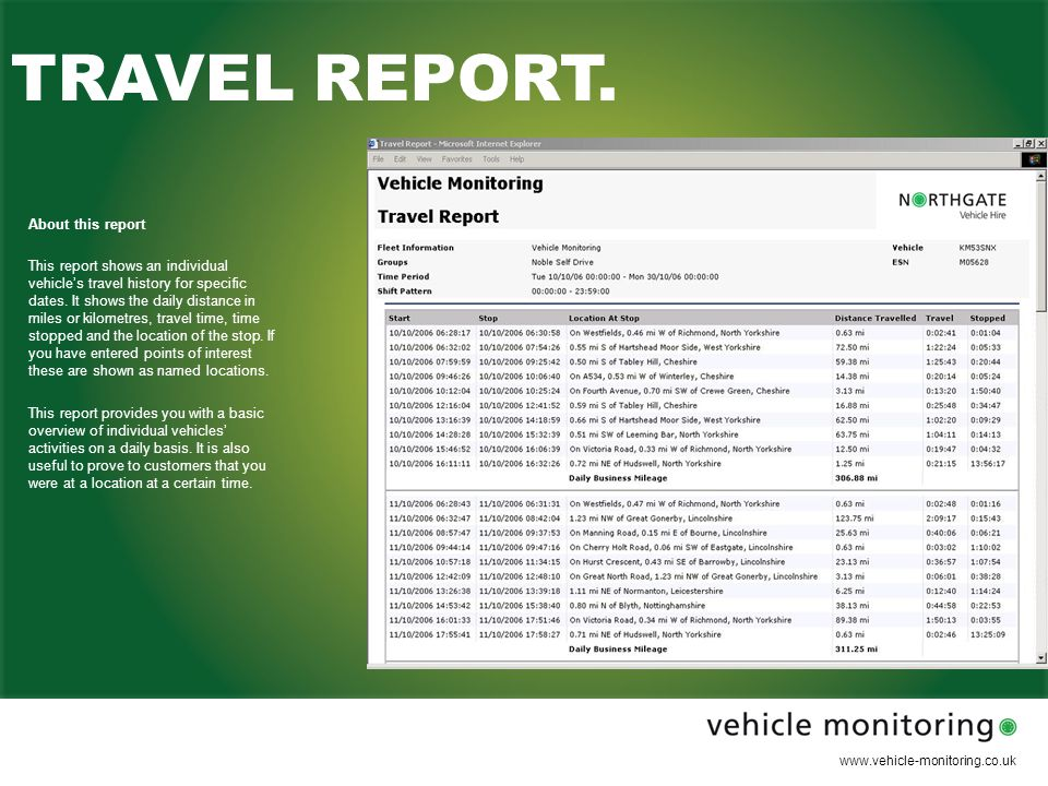 www.vehicle-monitoring.co.uk WEEKLY EXCEPTIONS REPORT.