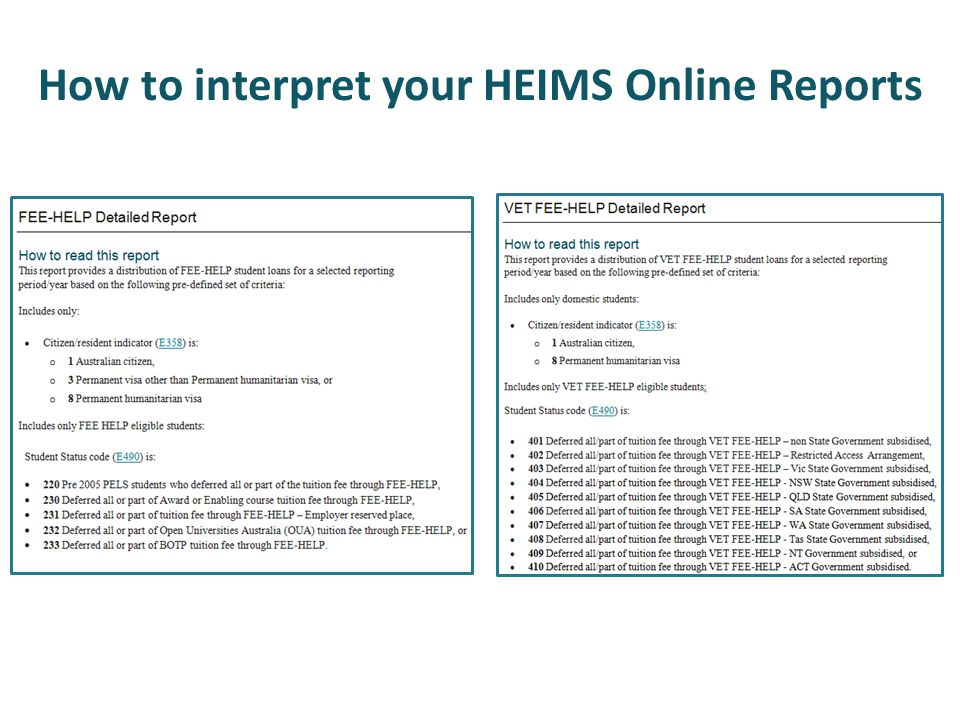 How to interpret your HEIMS Online Reports