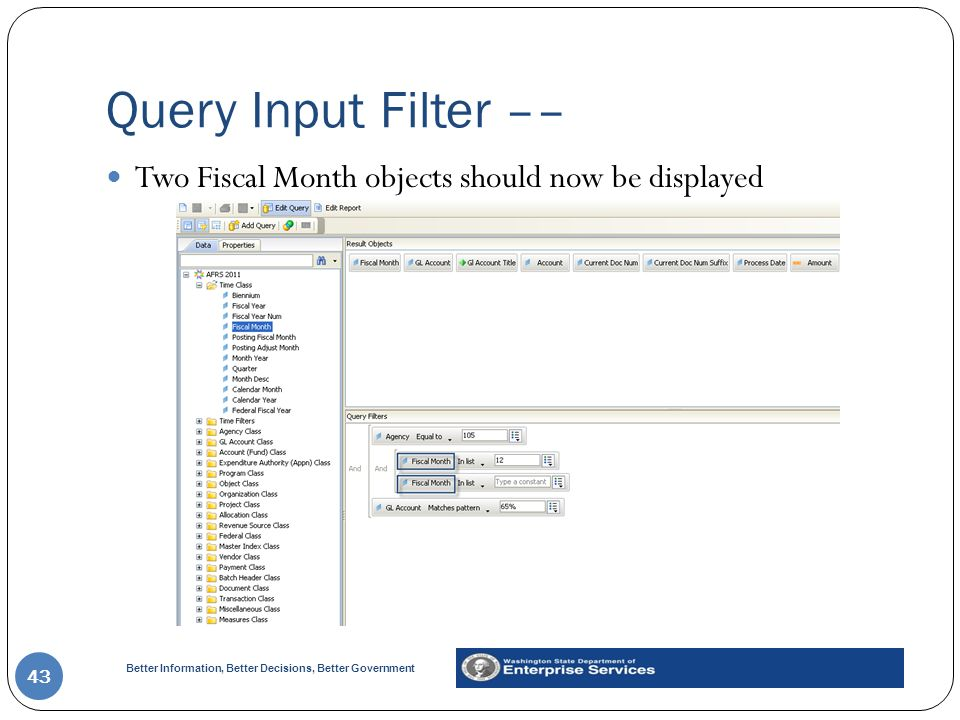 Better Information, Better Decisions, Better Government Query Input Filter –– 43 Two Fiscal Month objects should now be displayed