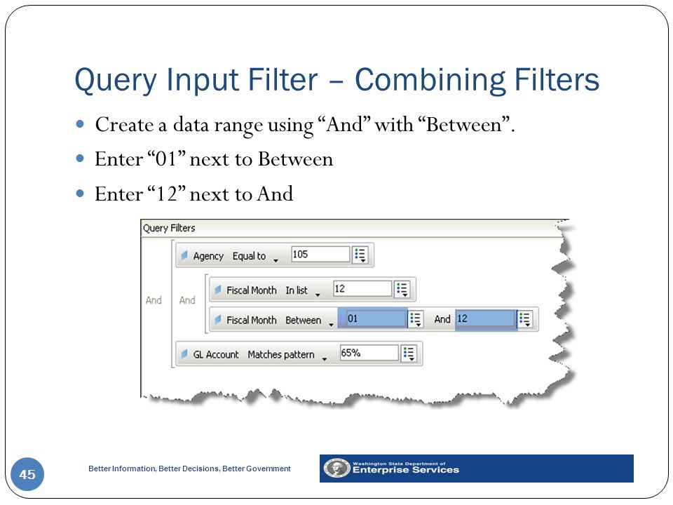 Better Information, Better Decisions, Better Government Query Input Filter – Combining Filters 45 Create a data range using And with Between .