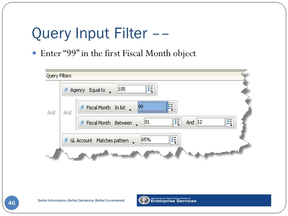 Better Information, Better Decisions, Better Government Query Input Filter –– 46 Enter 99 in the first Fiscal Month object
