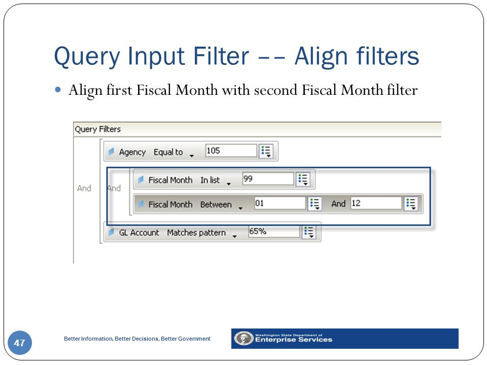 Better Information, Better Decisions, Better Government Query Input Filter –– Align filters 47 Align first Fiscal Month with second Fiscal Month filter