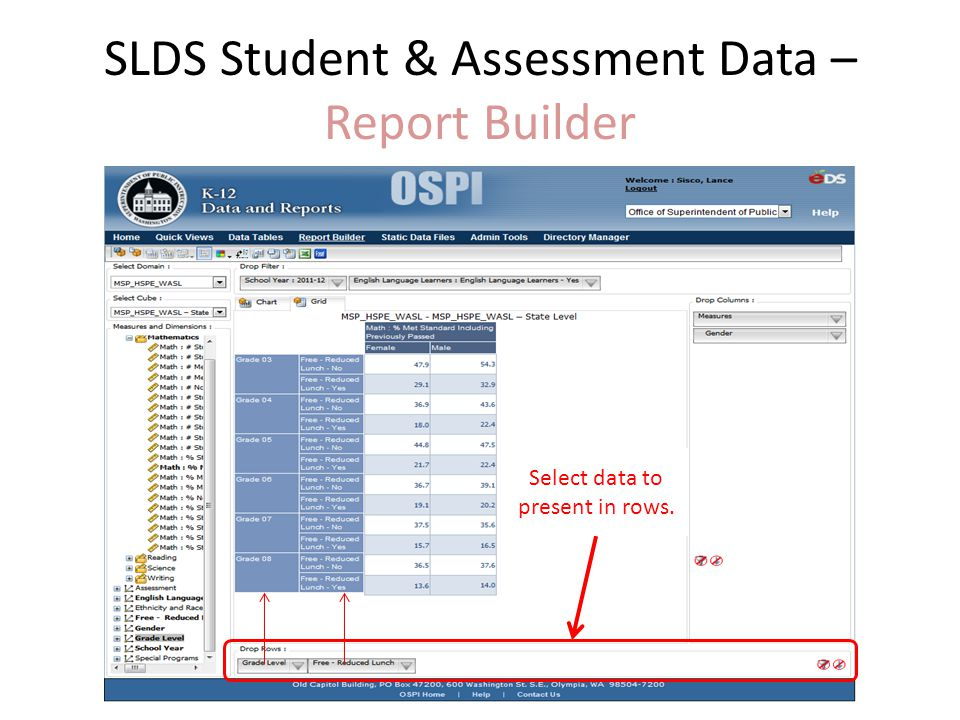 SLDS Student & Assessment Data – Report Builder Select data to present in rows.