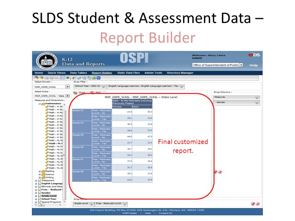 SLDS Student & Assessment Data – Report Builder Final customized report.