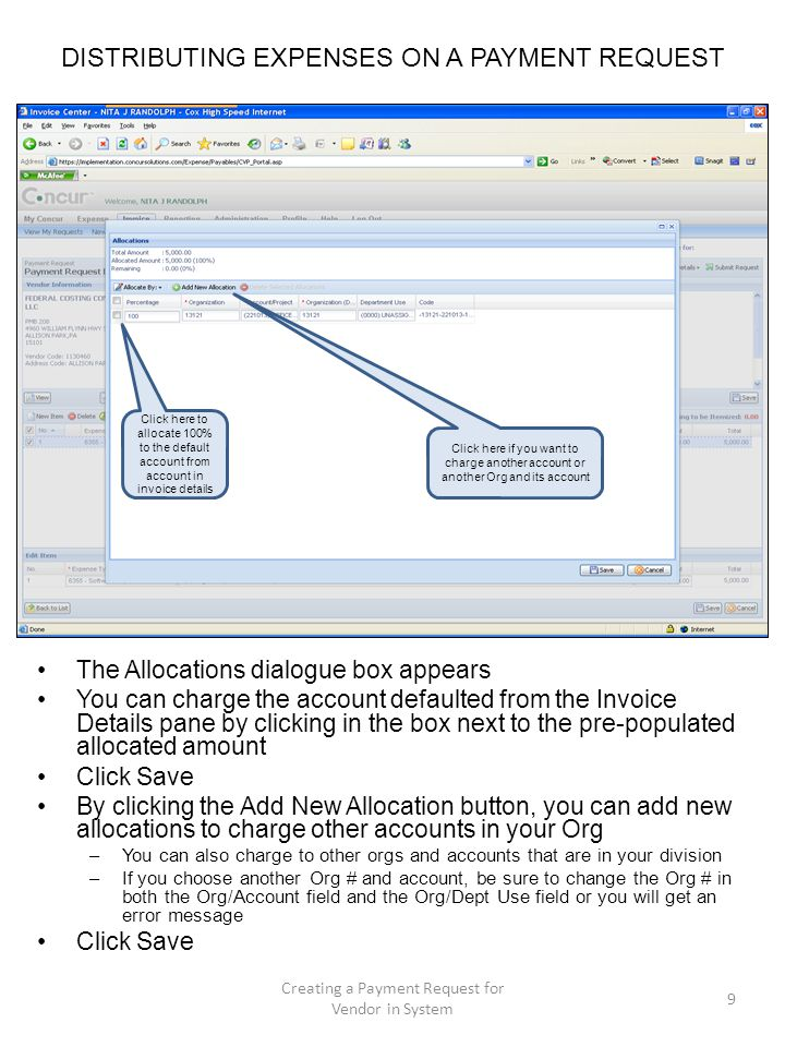 DISTRIBUTING EXPENSES ON A PAYMENT REQUEST The Allocations dialogue box appears You can charge the account defaulted from the Invoice Details pane by