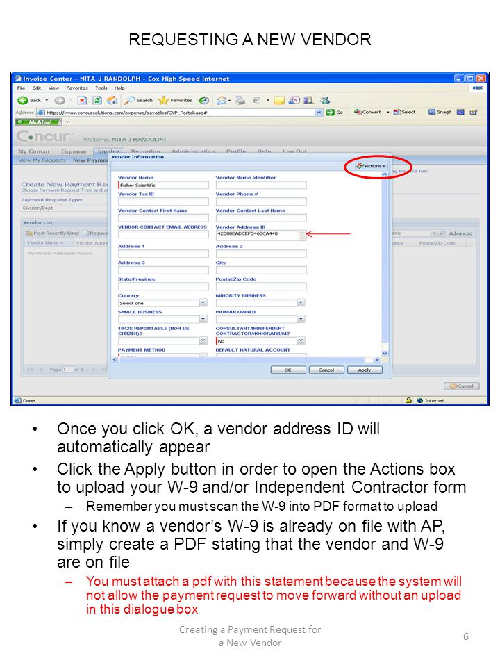 DISTRIBUTING EXPENSES ON A PAYMENT REQUEST The Allocations dialogue box appears You can charge the account defaulted from the Invoice Details pane by clicking in the box next to the pre-populated allocated amount Click Save By clicking the Add New Allocation button, you can add new allocations to charge other accounts in your Org –You can also charge to other orgs and accounts that are in your division –If you choose another Org # and account, be sure to change the Org # in both the Org/Account field and the Org/Dept Use field or you will get an error message Click Save 17 Creating a Payment Request for a New Vendor Click here to allocate 100% to the default account from account in invoice details Click here if you want to charge another account or another Org and its account