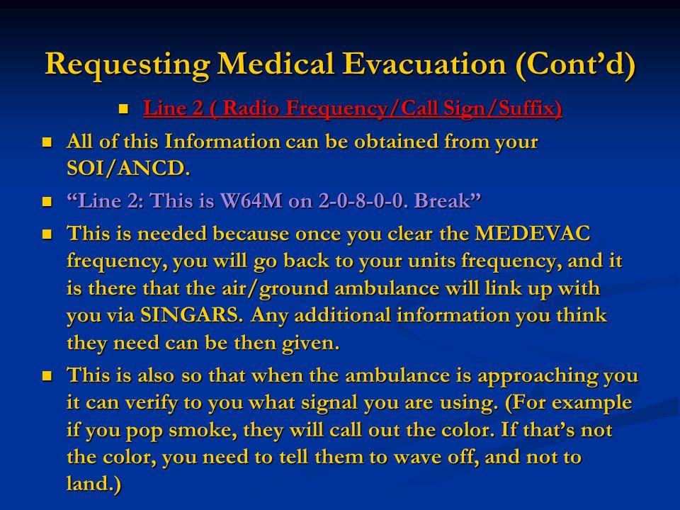 Requesting Medical Evacuation (Cont'd) Line 2 ( Radio Frequency/Call Sign/Suffix) Line 2 ( Radio Frequency/Call Sign/Suffix) All of this Information c