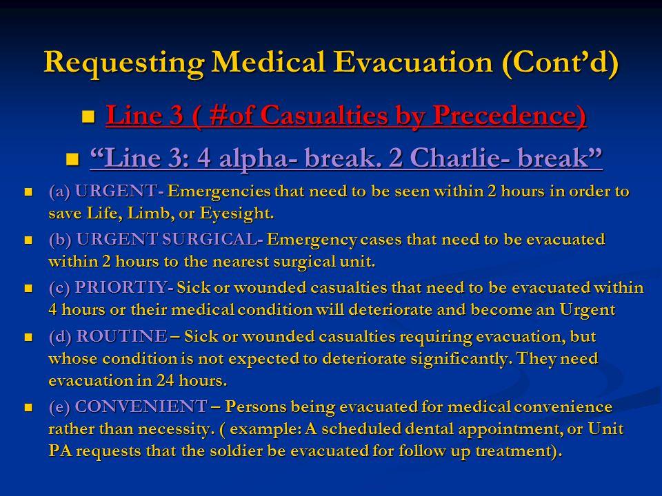 "Requesting Medical Evacuation (Cont'd) Line 3 ( #of Casualties by Precedence) Line 3 ( #of Casualties by Precedence) ""Line 3: 4 alpha- break. 2 Charli"