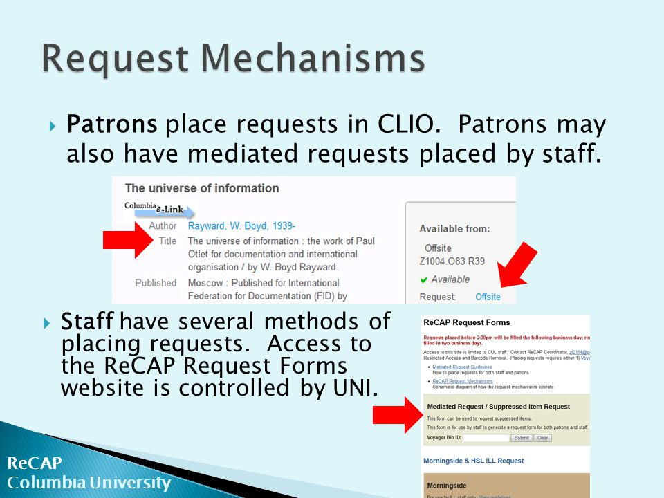 ReCAP Columbia University  Patrons place requests in CLIO.