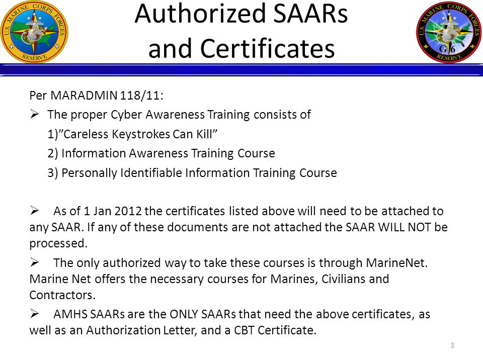 SAAR Process The SAAR form process is as follows: ISC/Supervisor submits SAAR > G6 Service Desk verifies SAAR and JPAS information > Security Manager Signs SAAR > IA Managers Sign SAAR > NOC reviews the SAAR and creates account or forwards to proper authority for account to be created.