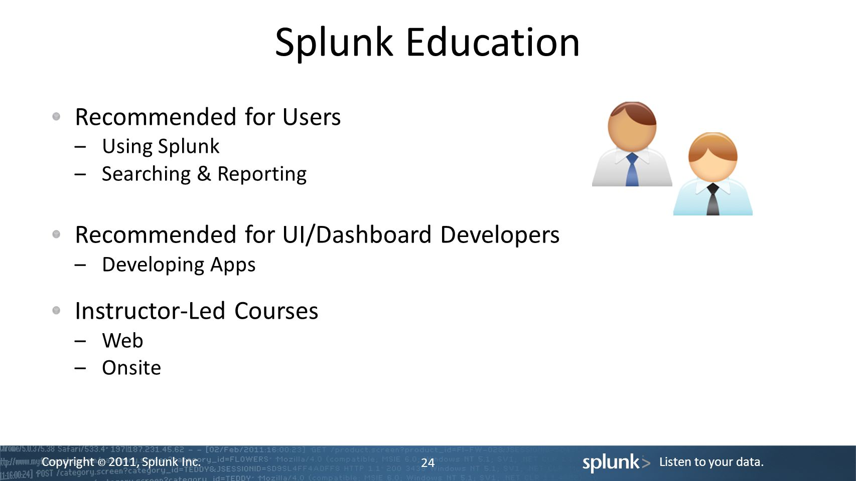 Copyright © 2011, Splunk Inc.Listen to your data.