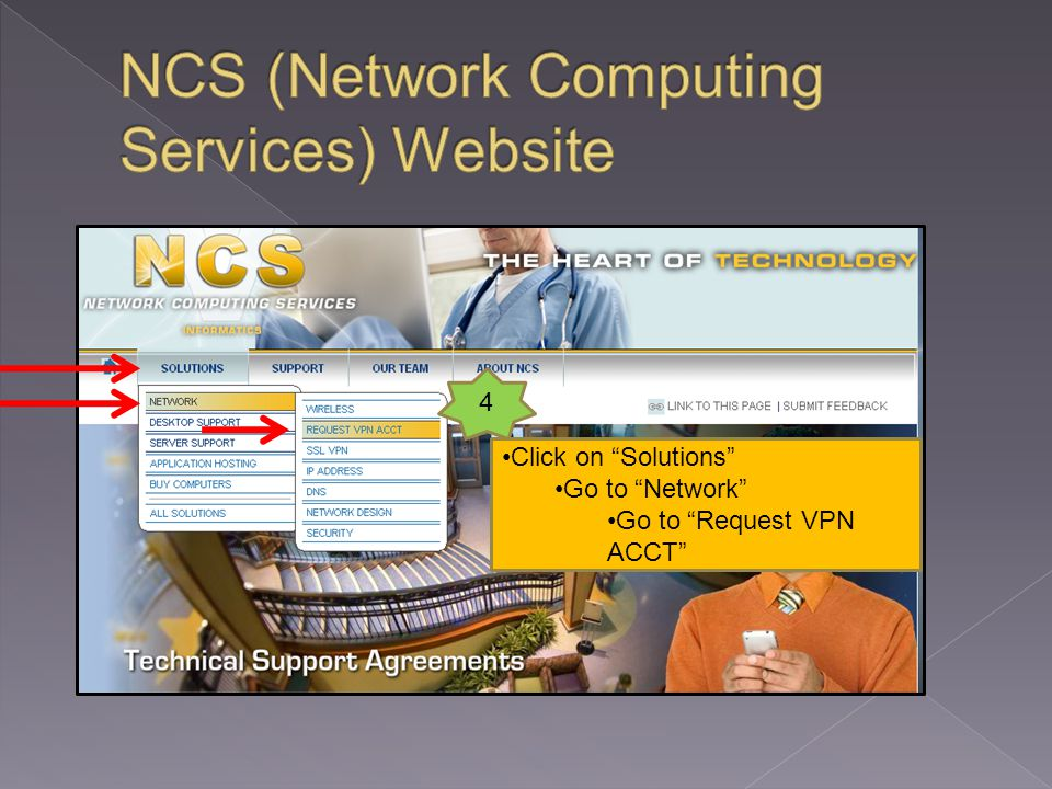 Click on Solutions Go to Network Go to Request VPN ACCT 4