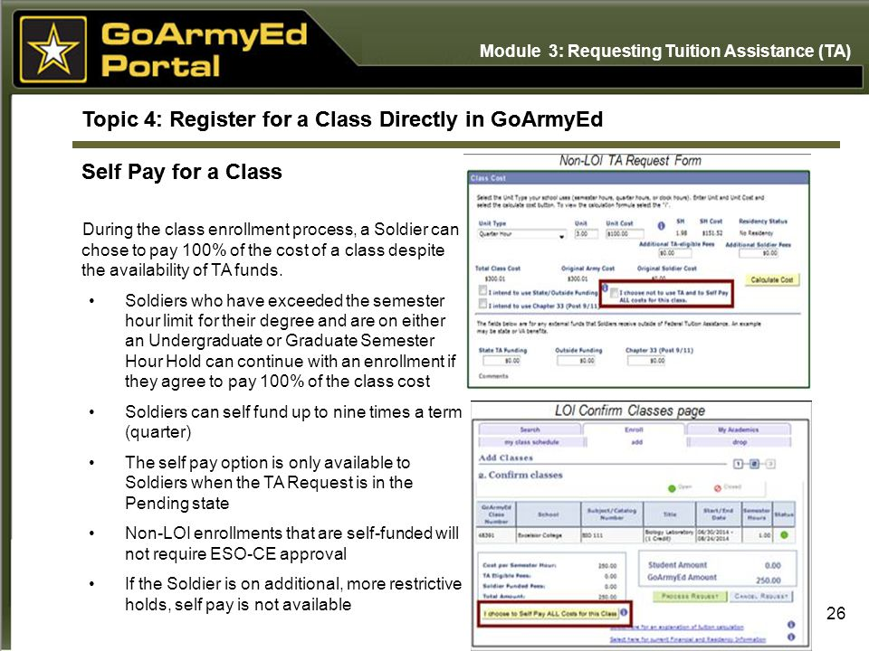 Module 3: Requesting Tuition Assistance (TA) Topic 4: Register for a Class Directly in GoArmyEd Self Pay for a Class Non-LOI TA Request Form LOI Confi