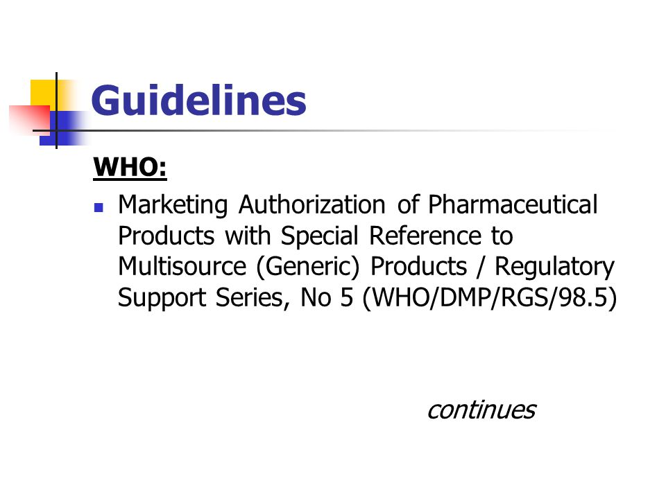 Guidelines WHO: Marketing Authorization of Pharmaceutical Products with Special Reference to Multisource (Generic) Products / Regulatory Support Serie