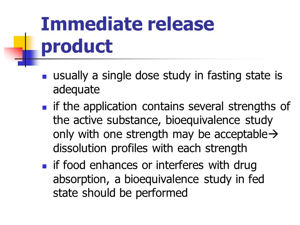 Test product (oral) test product used in bioequivalence studies should be indentical to the projected commercial pharmaceutical product composition and quality characteristics (including stability) should be the same manufacturing methods should be the same test product should preferably be from the industial scale