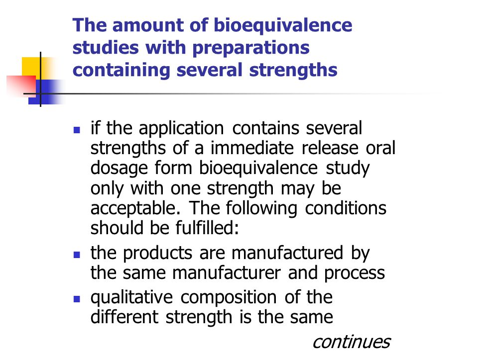The amount of bioequivalence studies with preparations containing several strengths ratio between amounts of active substance and excipients is the same (or in case of preparations containing low concentration of the active substance; <5 %; the ratio between amount of excipients is similar) the dissolution profiles of the test products are similar the drug input should be linear over the therapeutic dose range