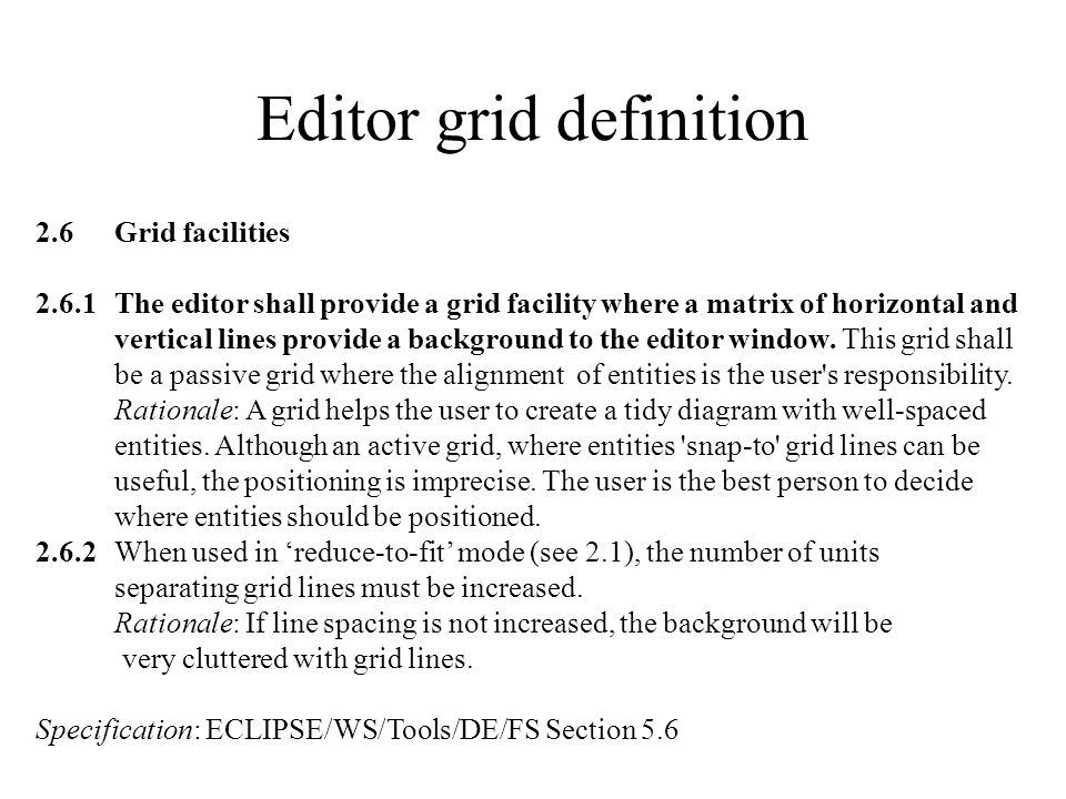 Editor grid definition 2.6Grid facilities 2.6.1The editor shall provide a grid facility where a matrix of horizontal and vertical lines provide a back