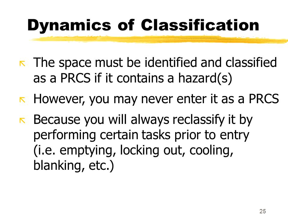 25 Dynamics of Classification ã The space must be identified and classified as a PRCS if it contains a hazard(s) ã However, you may never enter it as a PRCS ã Because you will always reclassify it by performing certain tasks prior to entry (i.e.