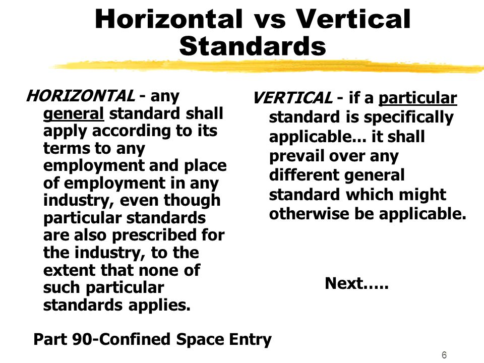 6 Horizontal vs Vertical Standards VERTICAL - if a particular standard is specifically applicable...
