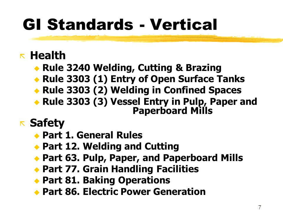 7 GI Standards - Vertical ã Health u Rule 3240 Welding, Cutting & Brazing u Rule 3303 (1) Entry of Open Surface Tanks u Rule 3303 (2) Welding in Confined Spaces u Rule 3303 (3) Vessel Entry in Pulp, Paper and Paperboard Mills ã Safety u Part 1.