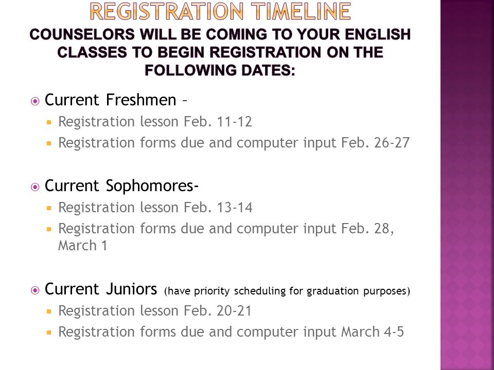  Current Freshmen –  Registration lesson Feb.