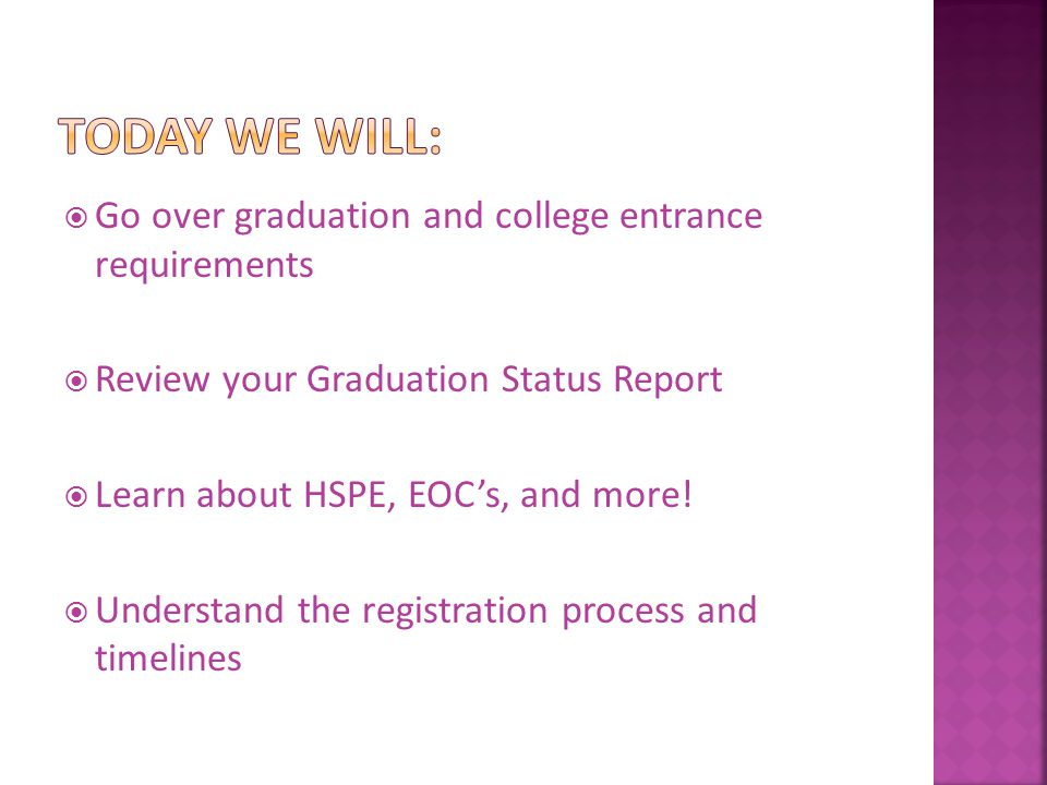  Go over graduation and college entrance requirements  Review your Graduation Status Report  Learn about HSPE, EOC's, and more.