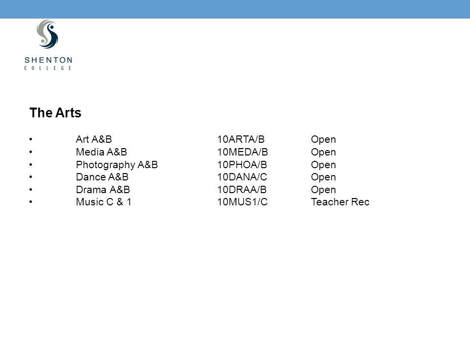 The Arts Art A&B10ARTA/BOpen Media A&B10MEDA/BOpen Photography A&B10PHOA/BOpen Dance A&B10DANA/COpen Drama A&B10DRAA/BOpen Music C & 110MUS1/CTeacher Rec