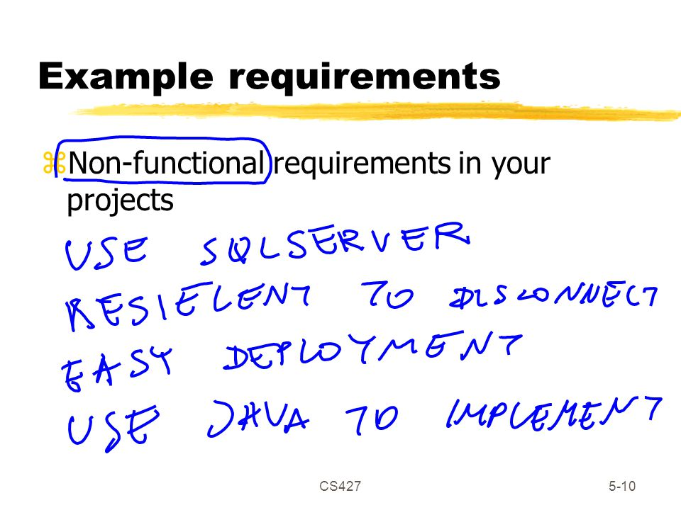 CS4275-10 Example requirements zNon-functional requirements in your projects