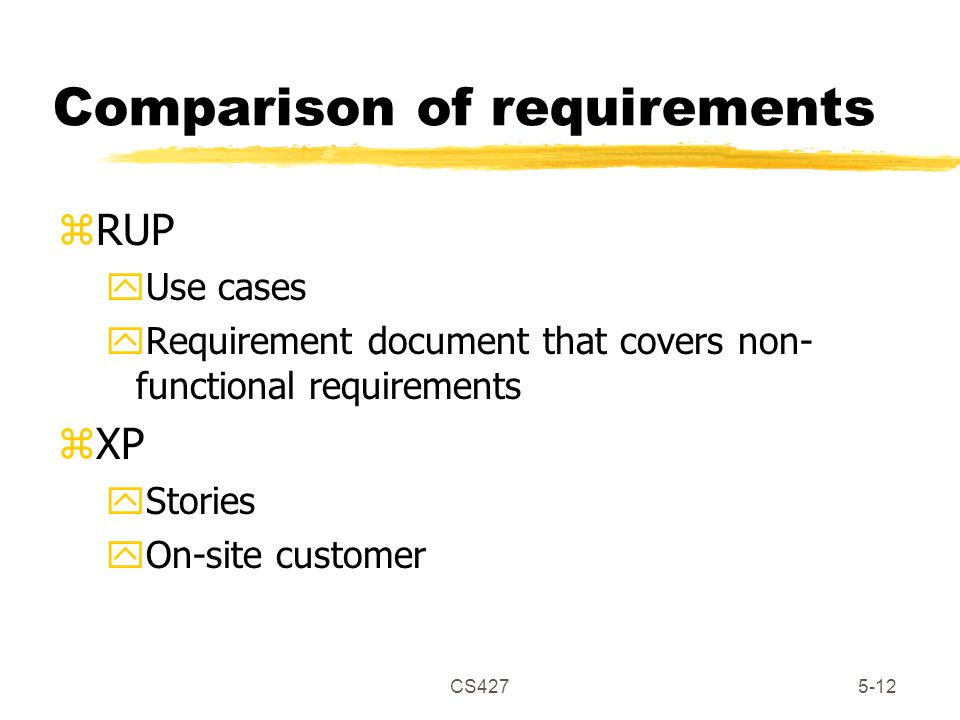 CS4275-12 Comparison of requirements zRUP yUse cases yRequirement document that covers non- functional requirements zXP yStories yOn-site customer