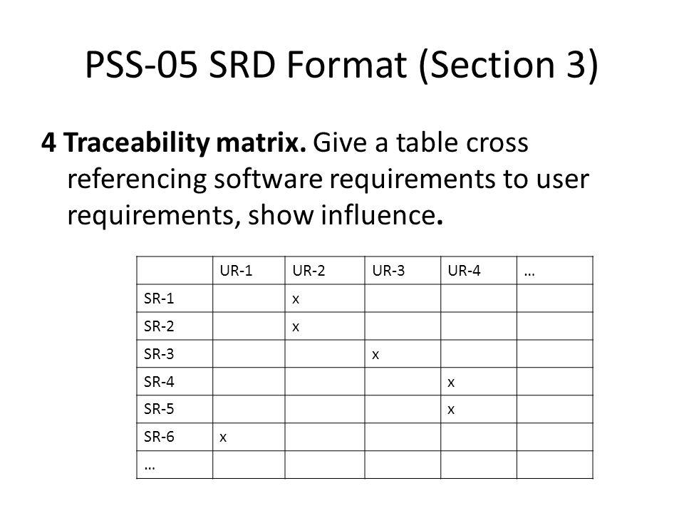 PSS-05 SRD Format (Section 3) 4 Traceability matrix.