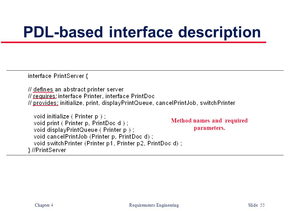 Chapter 4 Requirements Engineering Slide 55 PDL-based interface description Method names and required parameters.