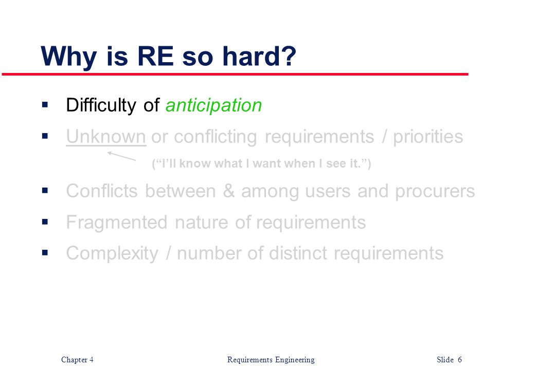 "Chapter 4 Requirements Engineering Slide 6 Why is RE so hard?  Difficulty of anticipation  Unknown or conflicting requirements / priorities (""I'll k"