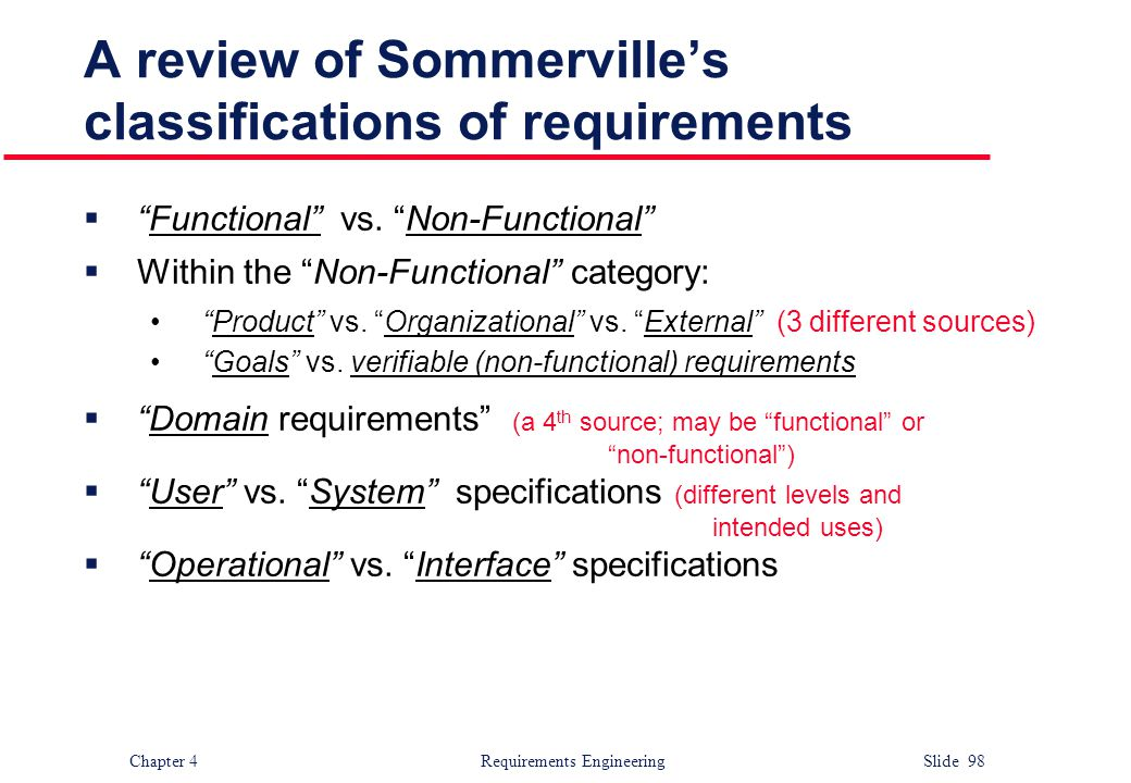 "Chapter 4 Requirements Engineering Slide 98 A review of Sommerville's classifications of requirements  ""Functional"" vs. ""Non-Functional""  Within the"