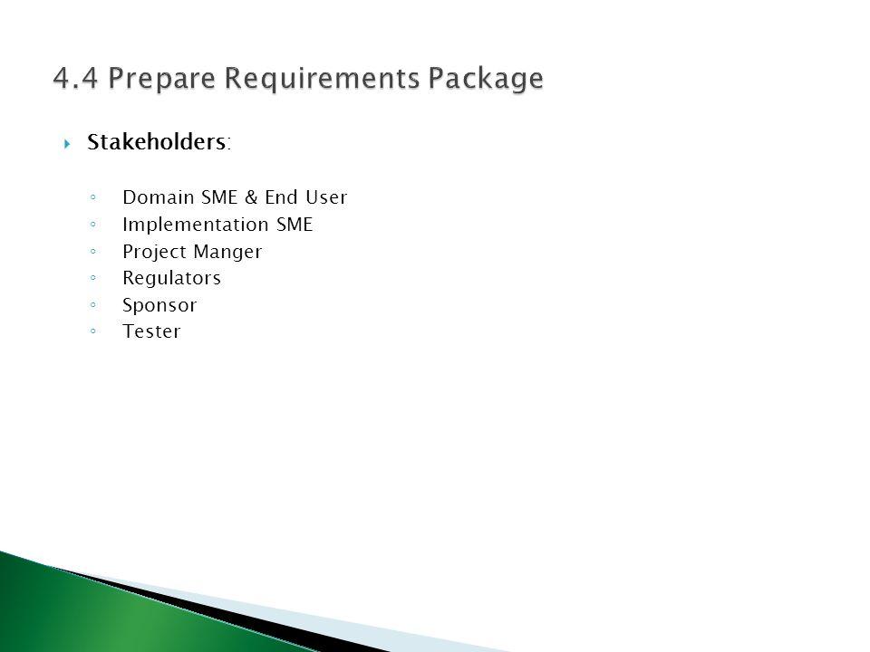  Stakeholders: ◦ Domain SME & End User ◦ Implementation SME ◦ Project Manger ◦ Regulators ◦ Sponsor ◦ Tester