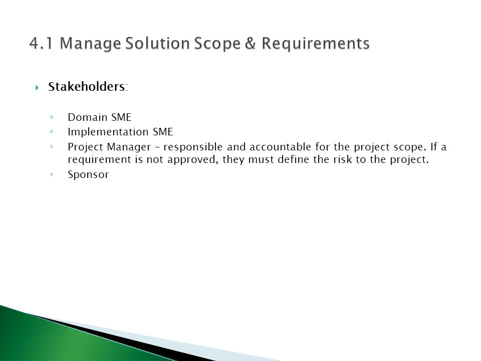  Stakeholders: ◦ Domain SME ◦ Implementation SME ◦ Project Manager – responsible and accountable for the project scope. If a requirement is not appro