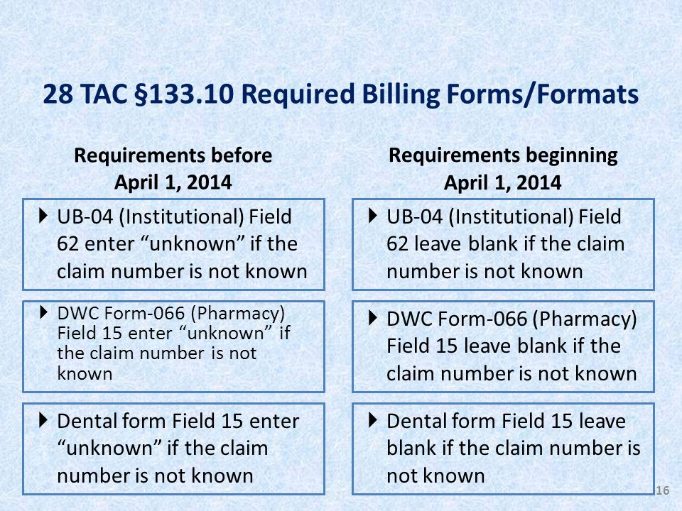 Requirements before April 1, 2014  UB-04 (Institutional) Field 62 enter unknown if the claim number is not known Requirements beginning April 1, 2014  UB-04 (Institutional) Field 62 leave blank if the claim number is not known 16  DWC Form-066 (Pharmacy) Field 15 enter unknown if the claim number is not known  DWC Form-066 (Pharmacy) Field 15 leave blank if the claim number is not known  Dental form Field 15 enter unknown if the claim number is not known  Dental form Field 15 leave blank if the claim number is not known 28 TAC §133.10 Required Billing Forms/Formats