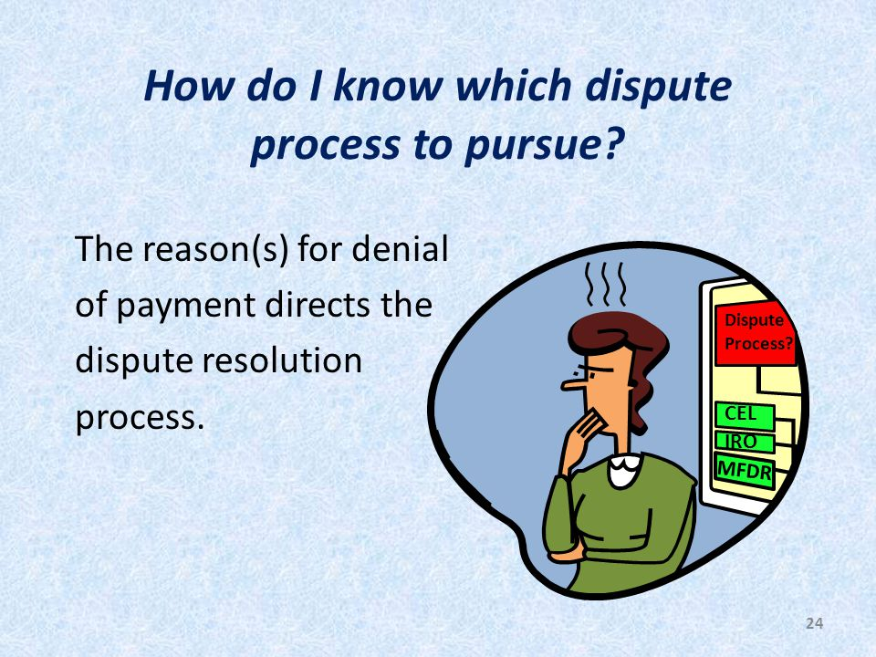 24 How do I know which dispute process to pursue.