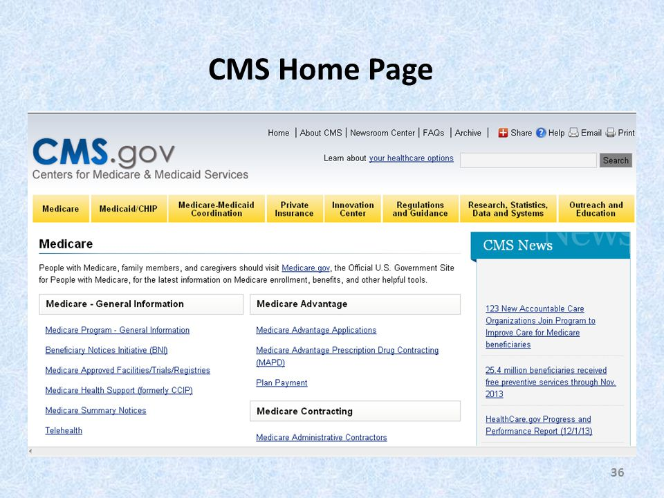 36 CMS Home Page