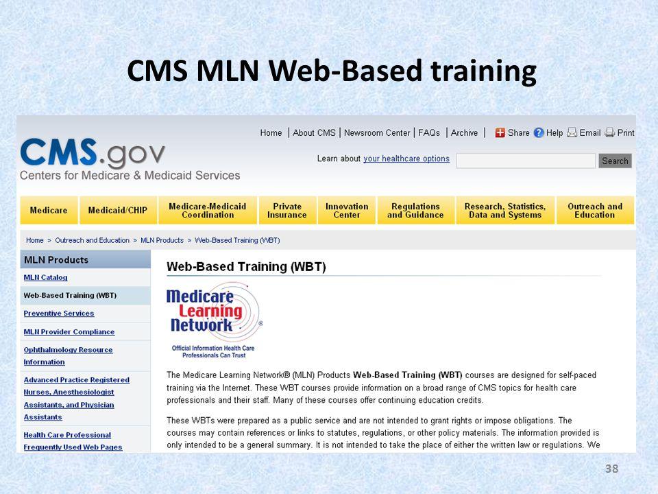 38 CMS MLN Web-Based training
