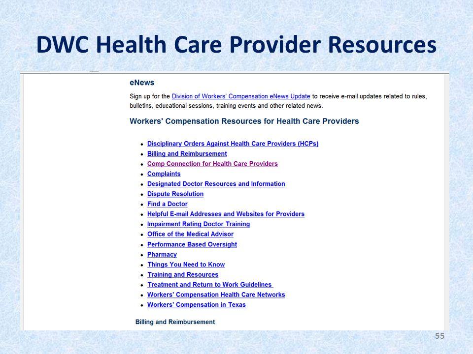 DWC Health Care Provider Resources 55