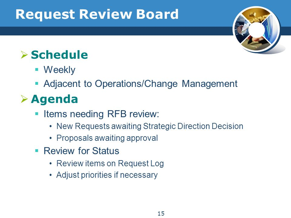 Request Review Board  Schedule  Weekly  Adjacent to Operations/Change Management  Agenda  Items needing RFB review: New Requests awaiting Strateg