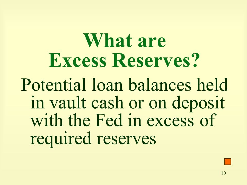 10 What are Excess Reserves? Potential loan balances held in vault cash or on deposit with the Fed in excess of required reserves