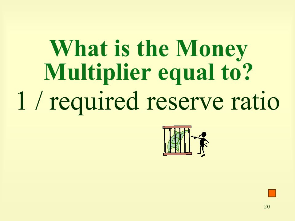 20 What is the Money Multiplier equal to? 1 / required reserve ratio