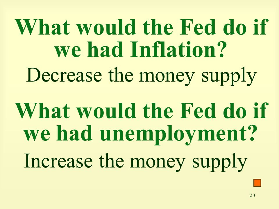 23 What would the Fed do if we had Inflation? Decrease the money supply What would the Fed do if we had unemployment? Increase the money supply
