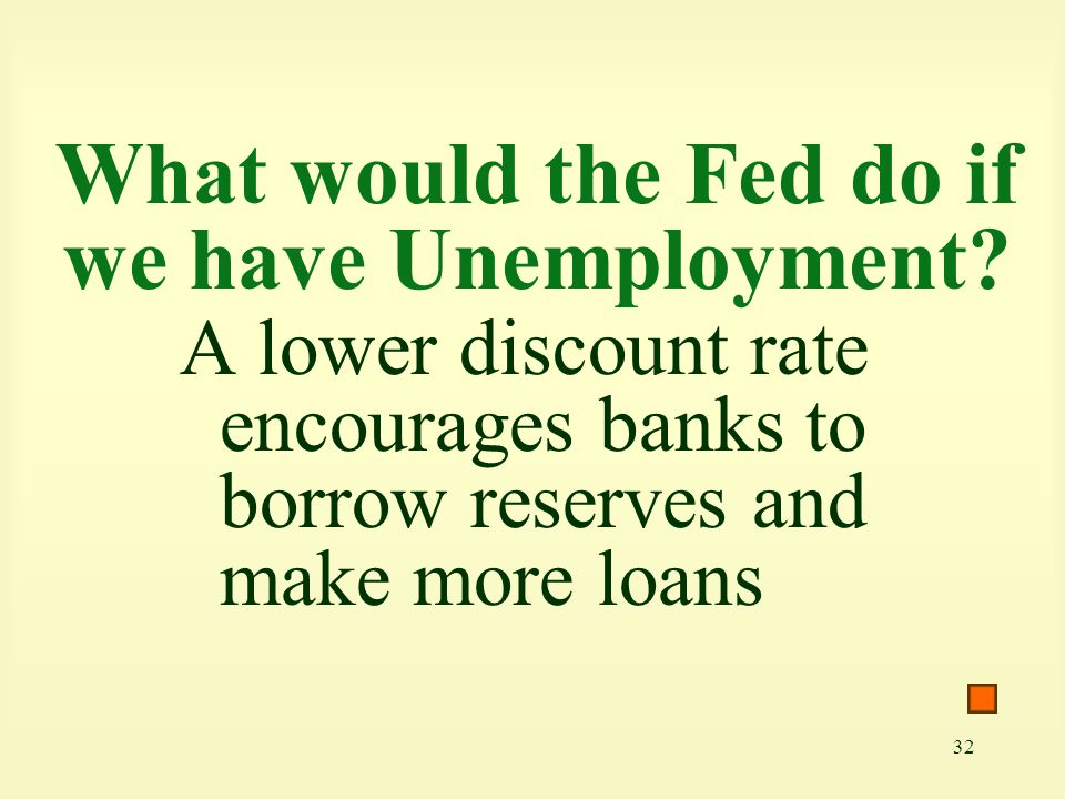 32 What would the Fed do if we have Unemployment? A lower discount rate encourages banks to borrow reserves and make more loans