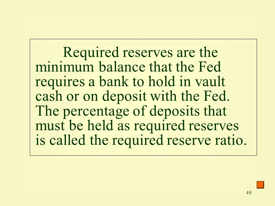 49 Required reserves are the minimum balance that the Fed requires a bank to hold in vault cash or on deposit with the Fed. The percentage of deposits