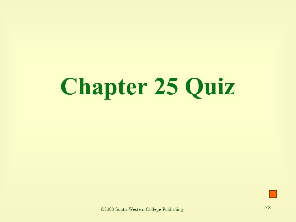 58 Chapter 25 Quiz ©2000 South-Western College Publishing