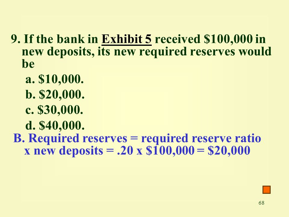68 9. If the bank in Exhibit 5 received $100,000 in new deposits, its new required reserves would beExhibit 5 a. $10,000. b. $20,000. c. $30,000. d. $